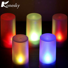 Wireless Remote Control Candle LED Light Electronic Flash Multi Colors Light Candle Lamp Night light(China)