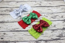 Xmas hair accessory Sequins bowknot Head wrap Headwrap Elastic Lace head band Turban Twist Hairband Vintage newest FD6567