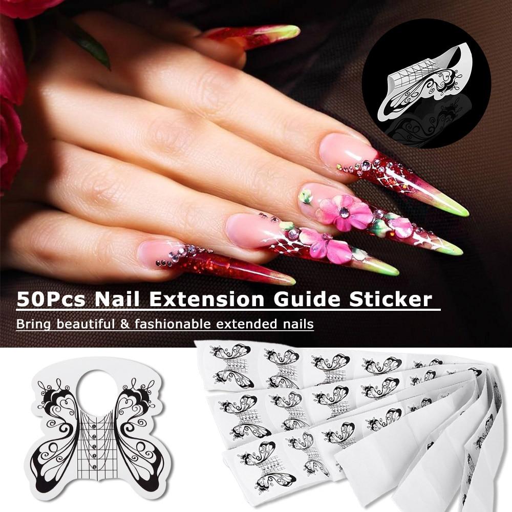 100 X Profesional Bentuk Kuku Akrilik Gel Stiker Ekstensi Jbs Nails Palsu Wedding Nail Art 3d A41 50 Pcs Tip Untuk Acrylic Uv Panduan Alat