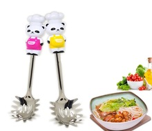 1 pcs random color Kitchen Utensil Cartoon Stainless Steel panda Spaghetti spoon Noodle Serving Bear Pasta cute Cooking Server(China)