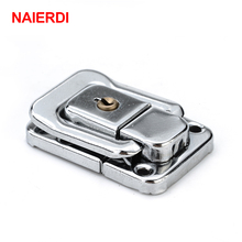 NAIERDI J402 Cabinet Box Square Lock With Key Spring Latch Catch Toggle Locks Mild Steel Hasp For Sliding Door Window Hardware