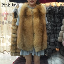 pink java QC8065 high quality women real fox fur vest whole pelt red fox fur vest gilet thick warm fur coat(China)