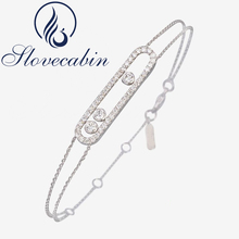 Slovecabin New Arrival Real 100% 925 Sterling Silver Moved Stone Bracelet With Clear CZ For Women Brand France Jewelry Wholesale(China)