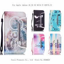 "2 in 1 Fashion Painted Cases for iPhone 4S 5S 5C 6S 6 Plus /6s plus 5.5"" inch  PU Leather Card Slot Holder Wallet Splitting case"