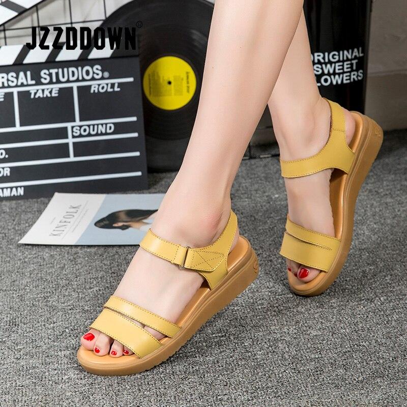 660971bac7ae Genuine Leather Women Flats Beach sandals shoes ladies Platform Sneakers  Flip Flop shoe 2018 summer Fashion Mid Heel footwear