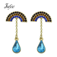 Jufee Fashion Gold-Color Drop Earrings Semicircle With Blue Rhinestone Water Drop Pattern Accessories Jewelery For Women