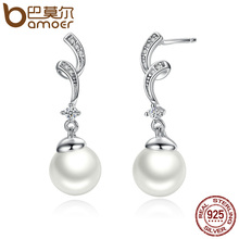 BAMOER Unique Design 100% 925 Sterling Silver Simulated Pearl & Wave Drop Earrings Women Fashion Jewelry SCE035(China)