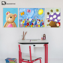 Children Poster Cartoon Animal Bear Rabbit Art Canvas Painting Nursery Wall Picture Modern Baby Room Kindergarten Decoration
