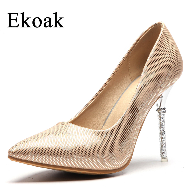 Ekoak New 2018 Wedding Shoes Woman Fashion Handmade Women Pumps Sexy Pointed Toe 10 cm High Heels Shoes Ladies Bling Party Shoes<br>