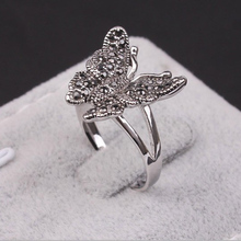 Ebay hotsell Duoying rhodium plated Alloy jet Rhinestone Butterfly cocktail Ring for party  dropshipping jewelry factory outlet