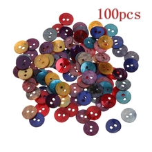 2017 100Pcs 10mm Assorted Color Natural Shell Tiny Mini Round Buttons 2 Holes Sewing NOV17_30(China)