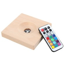 LED Night Light Lamp RGB Multicolor Light Emitting Socket Lamp Base Holder Solid Wood Lamp Holder With Remote Control DC3V