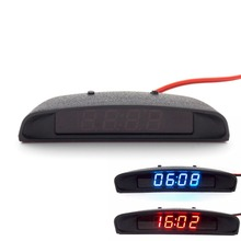 12V Original Car Interior Trim Appearance 3 In 1 Car Clock Thermometer and Voltage Monitor (Seven Kinds of Display Mode)(China)