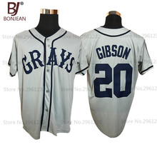 Cheap Josh Gibson #20 Homestead Grays Negro National League Button Down Baseball Jersey Grey Stitched Throwback Mens(China)