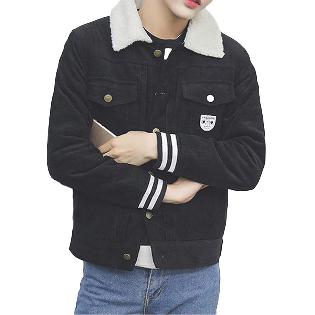 2017 Hot Corduroy Cotton Coats Men Long Sleeve Patchwork Gray Black Jackets Mens Slim Fleece Overcoats Youth Bodyfriend ClothingОдежда и ак�е��уары<br><br><br>Aliexpress