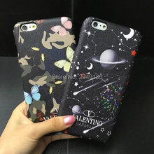 for Painted apple phone shell iphone7 leather printing protective shell 7plus Star Protection Case 6splus Butterfly  Phone case