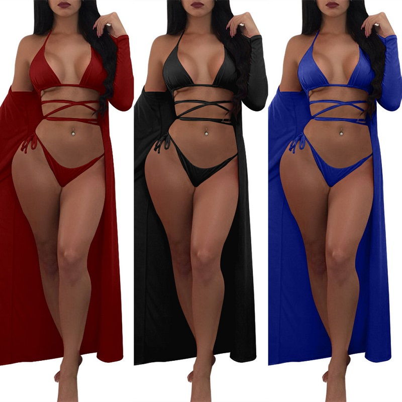Loose Plus Size Bikini Set Solid Push Up Swimsuit Wirefree Swimwear Women Beach Bathing Suit with Long Sleeved Sunscreen <br>
