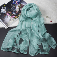 [Lakysilk]Fashion Floral Embroidery Lace Scarf Cotton Head Wraps Hijab Foulard Shawl Women Accessories High quality Pink Scarves(China)