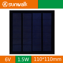 6V 1.5W DIY Small Solar Panel Cell 250mAh Polycrystalline PET Mini Solar Panel Module 110*110mm for Solar System and Education