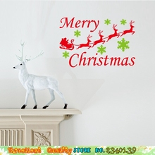 Hot Sale Merry Christmas Wall Stickers Reindeer Sled Snowflake Wall Decals Home Window Glass Decorations Mural Art Wall Stickers