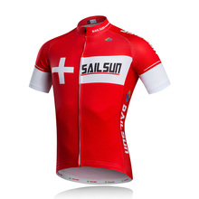 Hot Red SAIL SUN Men Cycling Jersey Top Crossrode Team Bike Clothing Pro MTB Ropa Ciclismo Summer Cycling Wear Bicycle Shirts