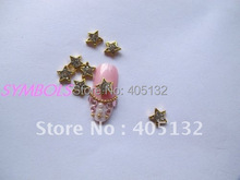 MD-240 3D 50pcs/bag Nail Decoration Metal Shinny Crystal Rhinestone Small Gold Star Metal Nail Art Decoration