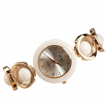 New Fashion Rose Gold Unique Design Gril White Pearl Women Clothing Style Bracelet Watch Hot Marketing Watches(China)