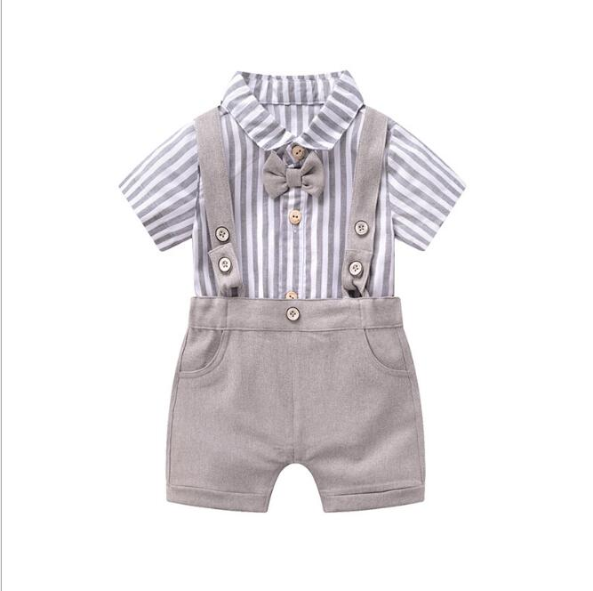 Infant Boy Clothes 2019 Summer Toddler Boys Striped Rompers+Shorts 2Pcs Suits Baby Girl Newborn Clothing 3M-24M