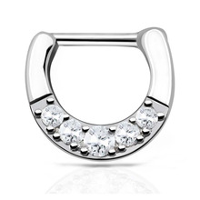 Septum clicker 1pc 316L Stainless Steel Septum Clicker Hinged Clear CZ Channel Set Nose Rings Septum Gauges Pierces Charm