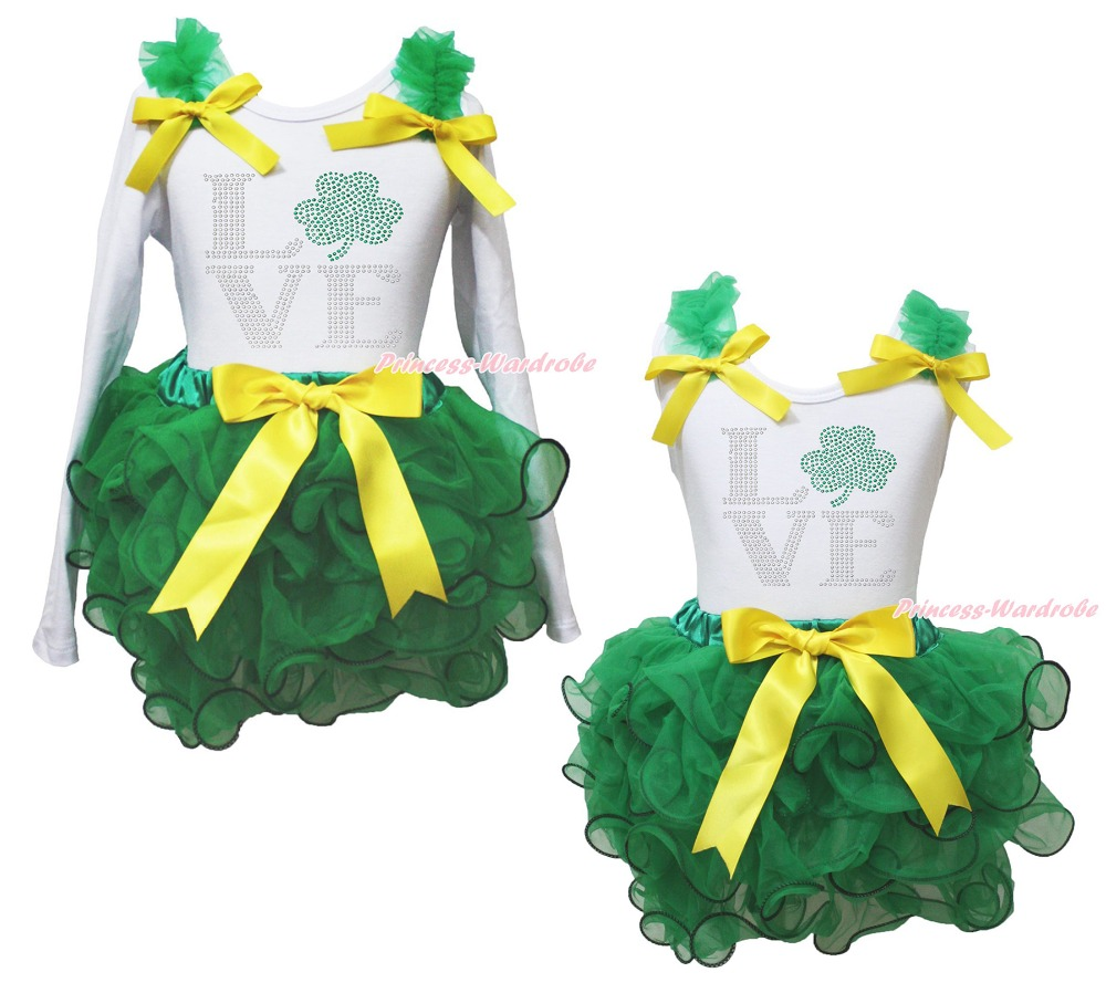 St Patrick LOVE Clover White Top Kelly Green Girls Petal Pettiskirt Outfit NB-8Y<br><br>Aliexpress