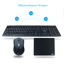 UHURU Wireless 2.4G Compact Slim Full Size Keyboard Mouse Combo with pad for Windows 10 / 8 / 7 / Vista / XP, Notebook, Laptop(China)