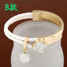 SPX6063 Fashion Clover Simple Bead Bracelet Crystal Joker Bangle For Woman Fashion Jewelry Wholesale