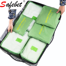 6 PCS/Set Travel Luggage Organizer Woman Clothing Sorting Storage Bag Mesh Duffle Bag Lingerie Shoes Pouch