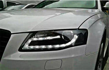 Free shipping Vland factory for Audi A4 Headlights 2009 2012 LED Headlight DRL Lens Double Beam H7 HID Xenon bi xenon lens(China)