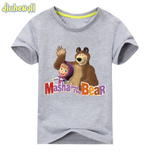 2017 Baby Cartoon Bear T Shirt Masha And The Bear Clothes For Girl Short Sleeve Cotton Tshirt Children Summer Tee Tops ACY101