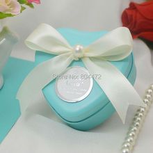 100 Pieces Metal Heart Shape Wedding Candy Box Tiffany Blue and Pink Party Favor Boxes with Pearl Decor Gift Packing