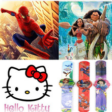 2 pcs/lot Cartoon Watch Trolls Princess Moana Captain America Action Figures Watch Strap Kid Gift Toy(China)