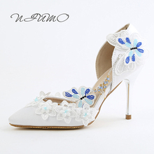 Fashion crystal side chain bridal shoes Blue sweet diamond butterfly wedding dress toast shoes Women's shoes Sandals