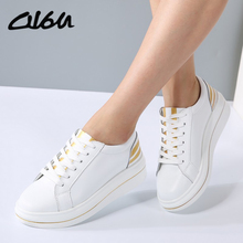 O16U Women Sneakers Platform Casual Shoes Genuine Leather Striped Printing Lace Ladies Lovely White Black Shoes Spring Designer(China)