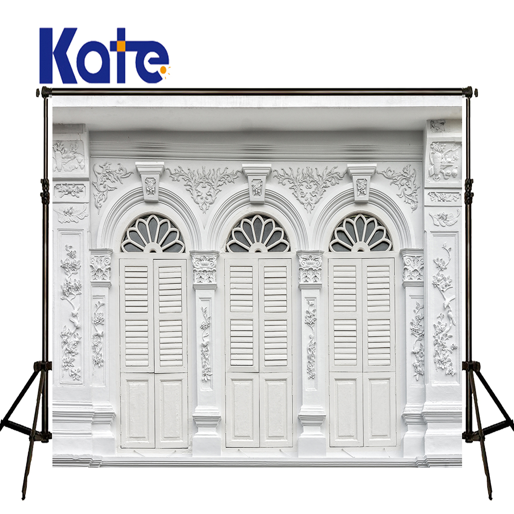 KATE Photography Backdrops 5x7ft White Wood Door Backdrop Vintage Outdoor Wedding Background Retro Texture Wall Photo for Studio<br>