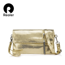REALER brand genuine leather women handbag female shoulder bag clutch ladies messenger bag with serpentine prints and tassel(China)