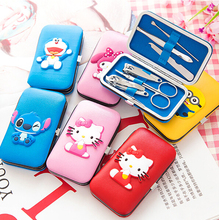 Cute Cartoon Characters Box Packed 6 in 1 Manicure Set Nail Care Tools Finger Nail Cutter Clipper File Scissor Tweezers GYH