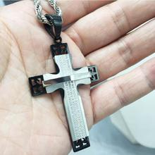 Hot high quality Cross Necklace Pendant Christian Jewelry Bible Lords Prayer silver/black Stainless Steel Christmas Gift For Men(China)