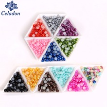 8 MM 200Pcs Multi-colors Half Around Flat back Jewelery beads Imitation Half Pearls For Crafts Handmade Scrapbook Diy