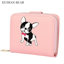 KUDIAN BEAR Women Wallets Cute Small Purse Carton Dog Short Wallet With Zipper Around Ladies Clutch Card Holder--BIC095 PM49(China)