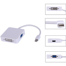 Hot Mini Displayport to VGA HDMI DVI Converter Adapter 3 In 1Mini Display Port DP Thunderbolt to DVI VGA HDMI Cable For MacBook