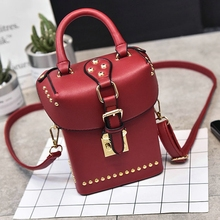 Fashion Women Handbag Synthetic Leather Vintage Stamping Shield Camera Satchel Shouder Bags Messenger cross body with Rivets(China)