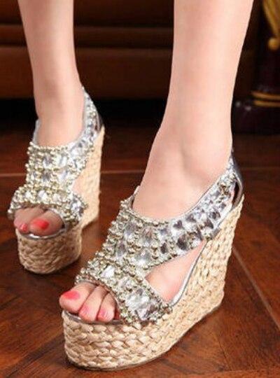 2014 Wedges waterproof platform high heels sexy bohemian beaded rhinestone fashion knit open toe sandals women summer D2662<br><br>Aliexpress