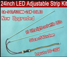 Free shipping 10pcs 24'' 540mm Adjustable brightness led backlight strip kit,Update 24inch-wide LCD CCFL panel to LED backlight