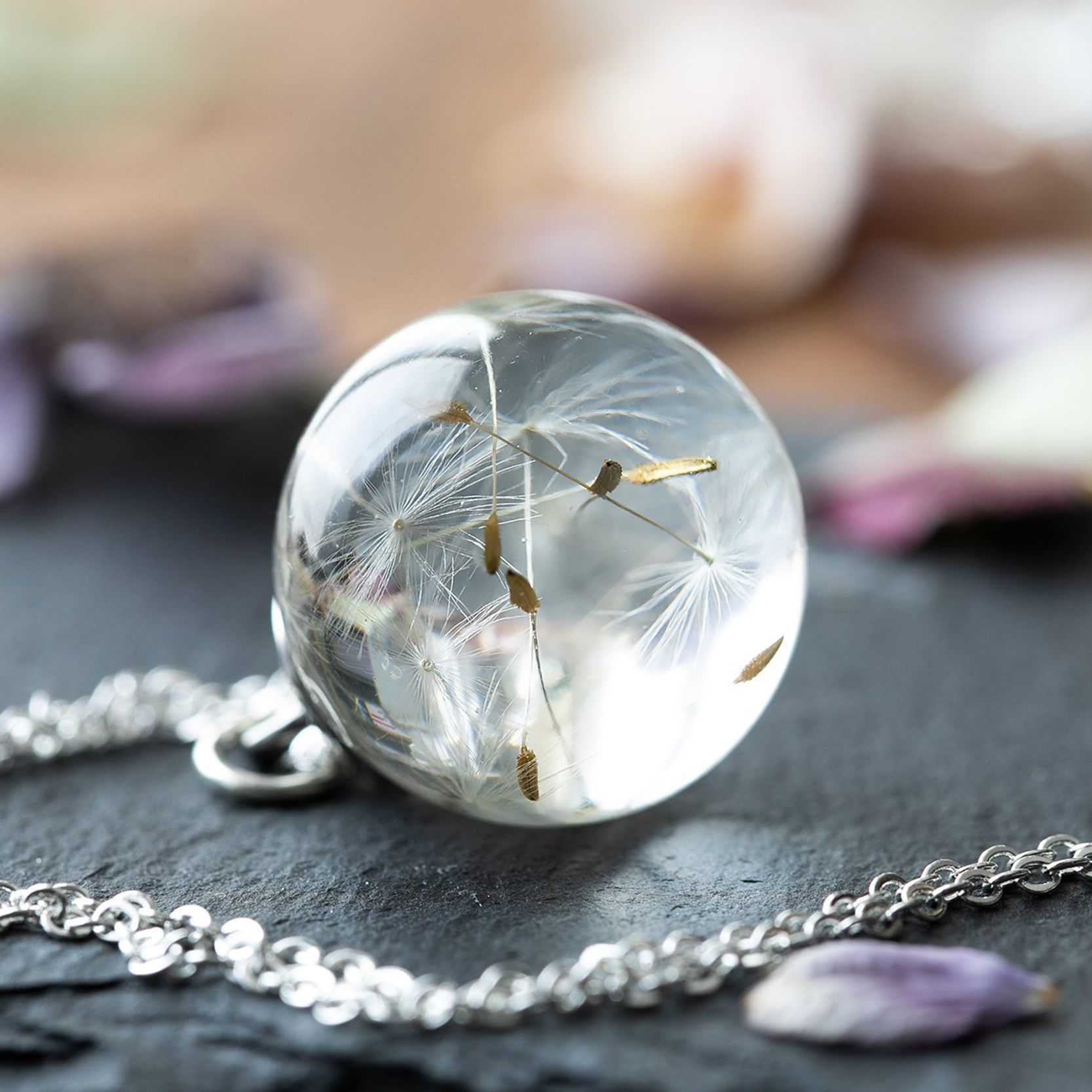 Dandelion necklace Dandelion wish necklace Clear crystal necklace Botanical necklace Real dandelion seeds with glitters Eco resin necklace